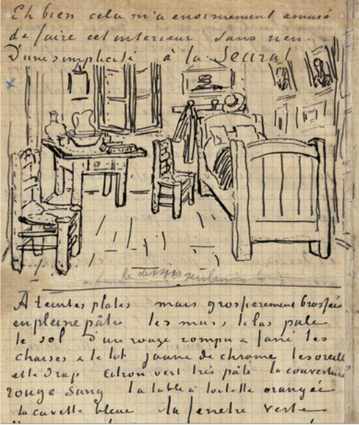 Excerpt from a Van Gogh letter with a sketch for the painting
