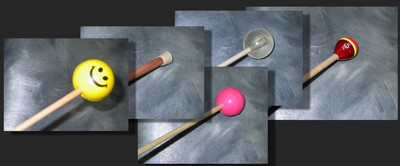 End-pieces: squeeze-ball, cane tip, silicone ball, superball, fishing bobber
